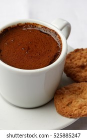 Healthy food & drink & natural diet food: Healthy breakfast. Coffee espresso & cookie. Closeup. Top view White linen tablecloths Closeup
