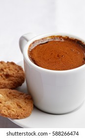 Healthy food & drink & natural diet food: Healthy breakfast. Coffee sugar & bakery. Coffee biscuit cake cookie. Top view White linen tablecloths Closeup