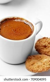 Healthy food & drink natural diet food: Healthy breakfast. Milk butter sugar bakery. Milk biscuit cake cookie. Top view White linen tablecloths