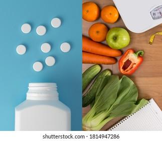 healthy food and drug Vitamins with fruit vegetables medicine health treatment