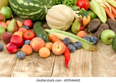 Healthy food, healthy eating fresh organic fruit and vegetable - seasonal fruits and vegetables