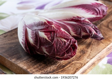 Healthy food, fresh Belgian endive red chicory lof lettuce close up