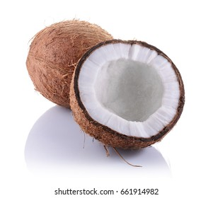 Healthy food. Fresh coconut with half isolated on white background
