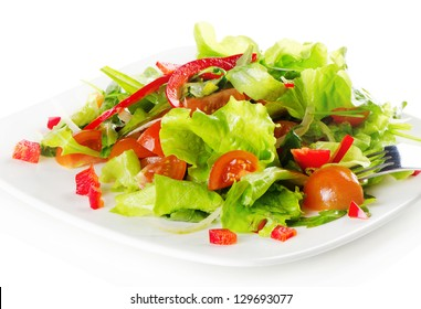 Healthy food - fresh salad isolated on white
