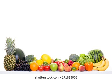 Healthy food - Fruits and vegetables isolated on white background, much space for own text