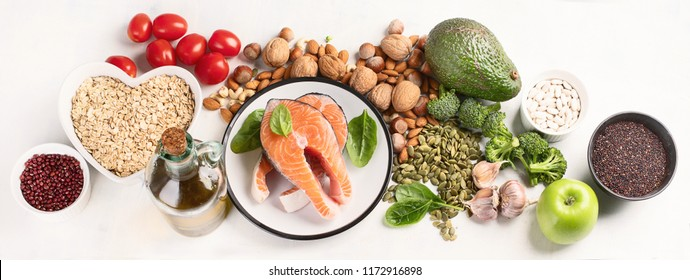 Healthy food for heart. Cholesterol diet.  Healthy heart concept. Panorama