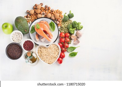 Healthy food for heart. Cholesterol diet.  Healthy heart concept. Top view with copy space