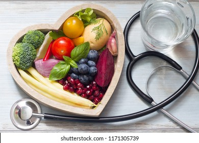 Healthy food in heart diet concept with stethoscope