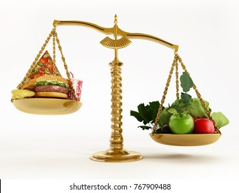 Healthy food and junk food in scales of a balanced scale. 3D illustration.