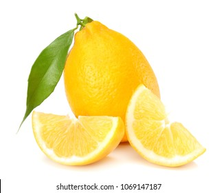 healthy food. lemon with green leaf isolated on white background