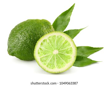 healthy food. lime with green leaf isolated on white background