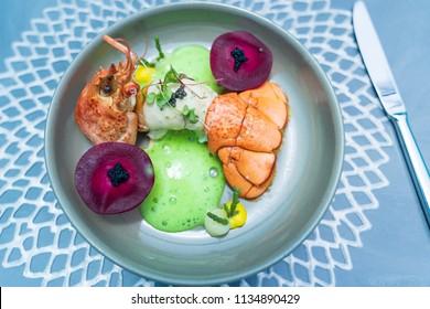 Healthy food with lobster menu, in luxury restaurant.