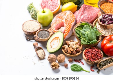 Healthy food - Meat, fish, legumes,  nuts, seeds and vegetables.