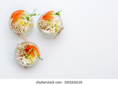 Healthy food, menu with microgreens. Salad with micro greens assortment. Organic vegetables, cheese and chicken. Healthy lifestyle and eating right concept, copyspace.