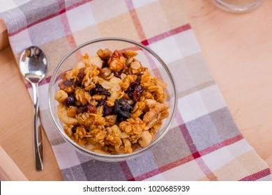 Healthy Food, Muesli in the Bowl. Dietary Fiber, Food.