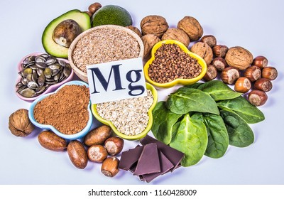 Healthy food nutrition dieting concept. Assortment of high magnesium sources. White background.