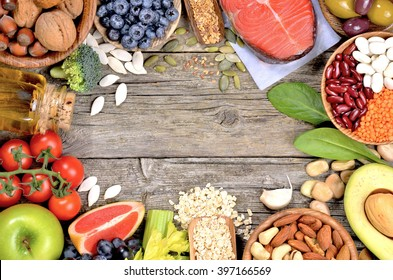 Healthy food on wooden table. Copyspace background. Top view.