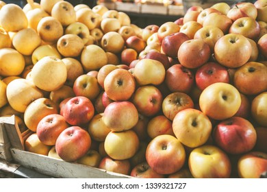 Healthy food organic apples ready for sale at local farmers market stall