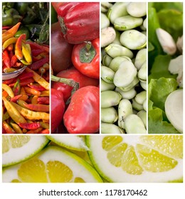 Healthy food photo collage