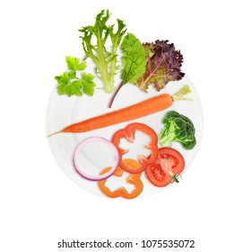 Healthy food plate isolated on white background