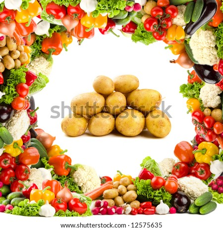Healthy food - potatoes. With bright vegetable frame