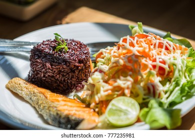 Healthy Food, Riceberry with Salmon. Appetizing.