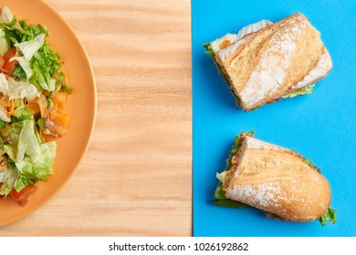 Healthy food: Salad and sandwich