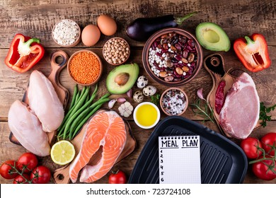 Healthy food selection. Meat, fish, vegetables for cooking grill. Ingredients for cooking. Meal planning. Top view