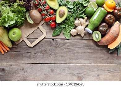 Healthy food. Selection of vegetables, fruits, nuts and cereals for ketogenic diet, clean eating, plant based, vegetarian and super food concept.