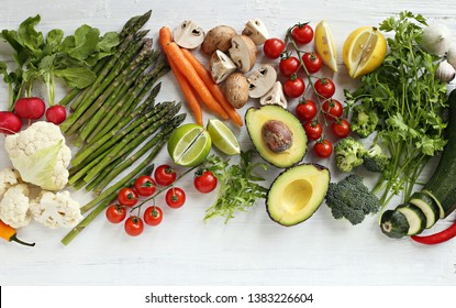 Healthy food. Selection of vegetables, fruits and berries for ketogenic diet, clean eating, plant based, vegetarian and super food concept.
