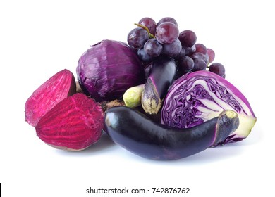 Healthy Food set purple fruits and vegetables , violet eggplant ,Grape,Beetroot,cabbage isolated on white background High vitamin Anthocynins benefit for heart and blood circulatory system.
