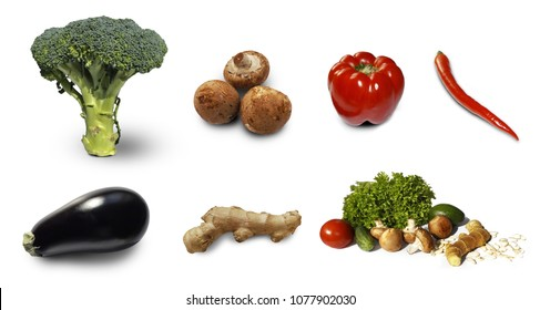 healthy food, set vegetables isolated on white background