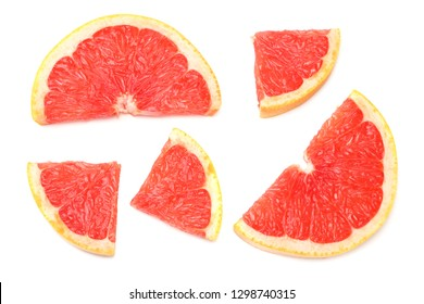 healthy food. sliced grapefruit isolated on white background. top view