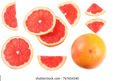 healthy food. sliced grapefruit isolated on white background top view