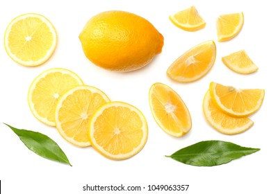 healthy food. sliced lemon with green leaf isolated on white background top view