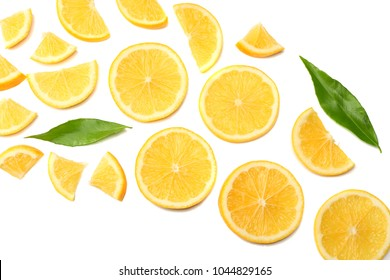 healthy food. sliced lemon isolated on white background top view