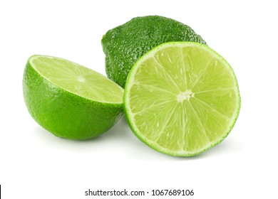 healthy food. sliced lime isolated on white background