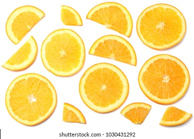 healthy food. sliced orange isolated on white background top view
