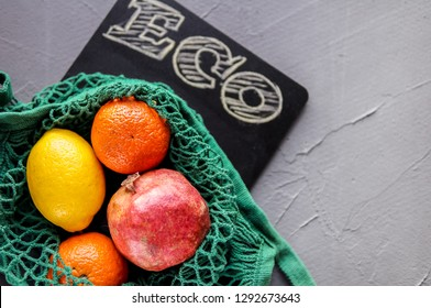 Healthy food in string bag. Eco life concept