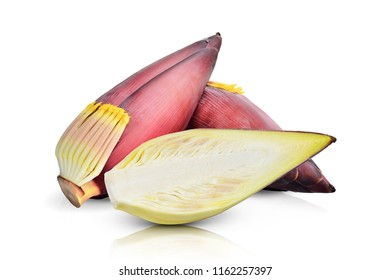 Healthy Food vegetarian food blossom of the banana tree, banana flower bio-organic consumption, isolated on white background. This has clipping path.