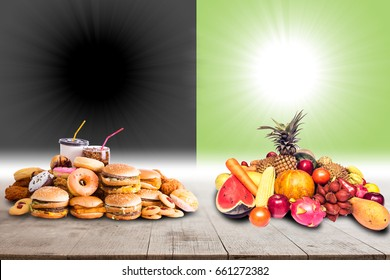 healthy food vs junk food choice concept for your healthy life