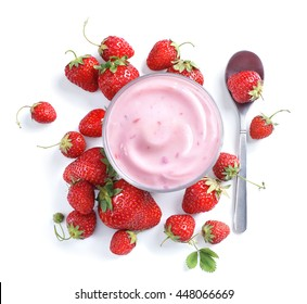 Healthy food of yogurt. Strawberry Yogurt with berries. Top view, High resolution product.