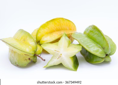 healthy food,carambola or star apple on white background