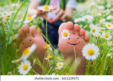 Healthy foot. Field chamomile happiness chamomile field legs. White daisy chamomile growing in the meadow on boy feet. Child legs with daisy chamomile. Kid feet on the nature.