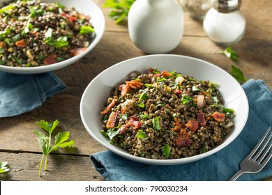 Healthy French Lentil Salad with Bacon and Parsley