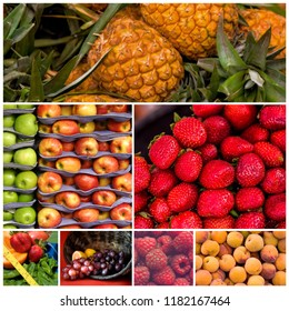 Healthy fresh colorful fruits photo collage for template design