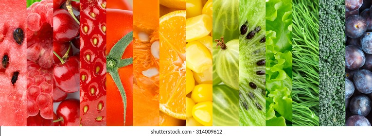 Healthy fresh food background. Collection with color fruits, berries and vegetables