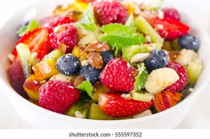 Healthy fresh fruit salad. Selective focus