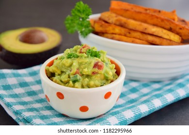 Healthy Fresh  Homemade Guacamole with Sweet Potato Fries