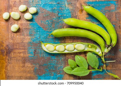 Healthy fresh legumes, new harvest on broad lima white big beans